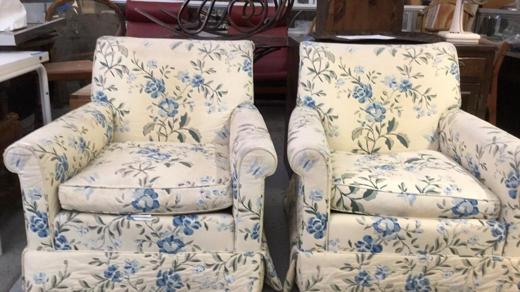 Pair of Floral Upholstered Arm Chairs