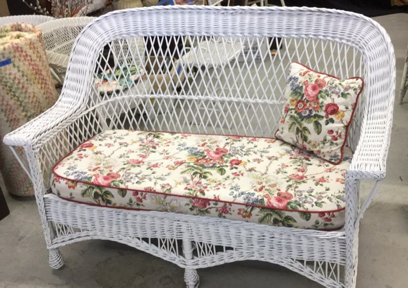Vintage Whicker Bench with Floral cushions