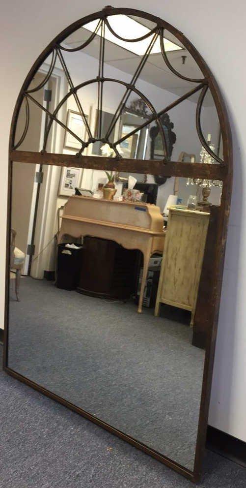 Antique Iron Arched Mirror w Decorative Mullions