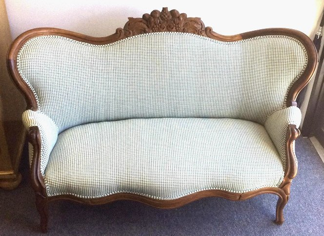 Carved Victorian Settee, Green Gingham Upholstery