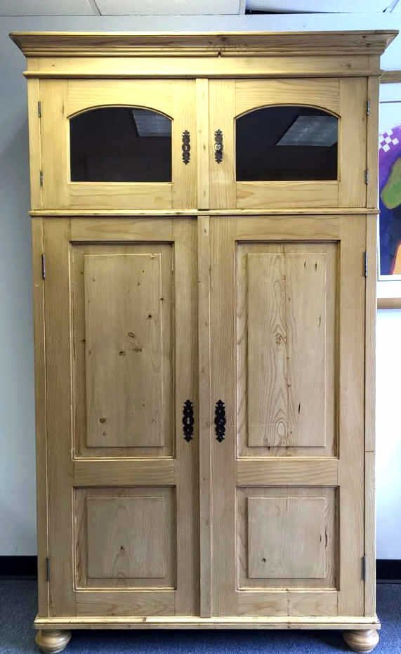 Vintage Pine Storage Amoire With Glass