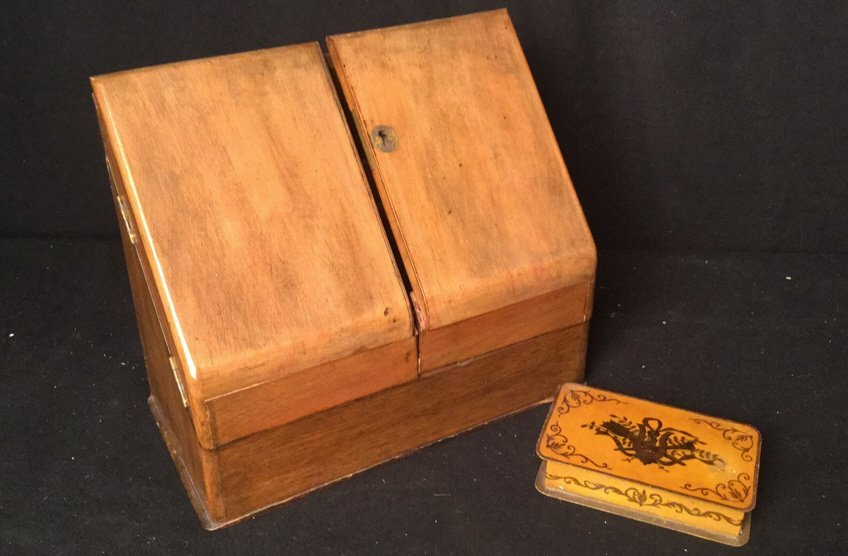 Antique Wooden Letter Box and Metal Box