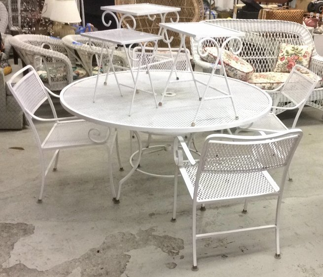 Set Of Wrought Iron Table,Chairs & Side Tables