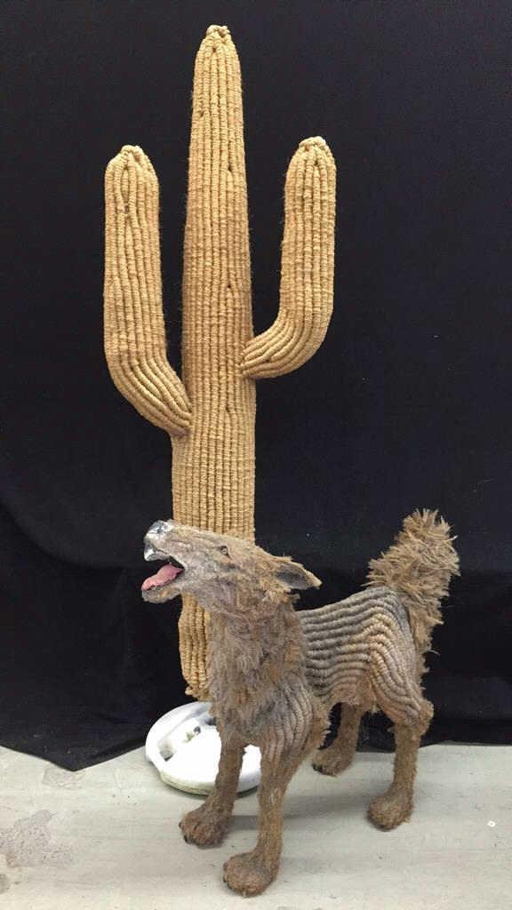 Folk Art Sculpture Coyote & Cactus