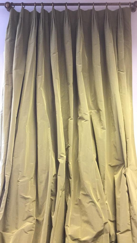 Pair of Custom Window Treatments Green and Gold