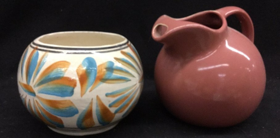 Pair of pastel ceramic pots