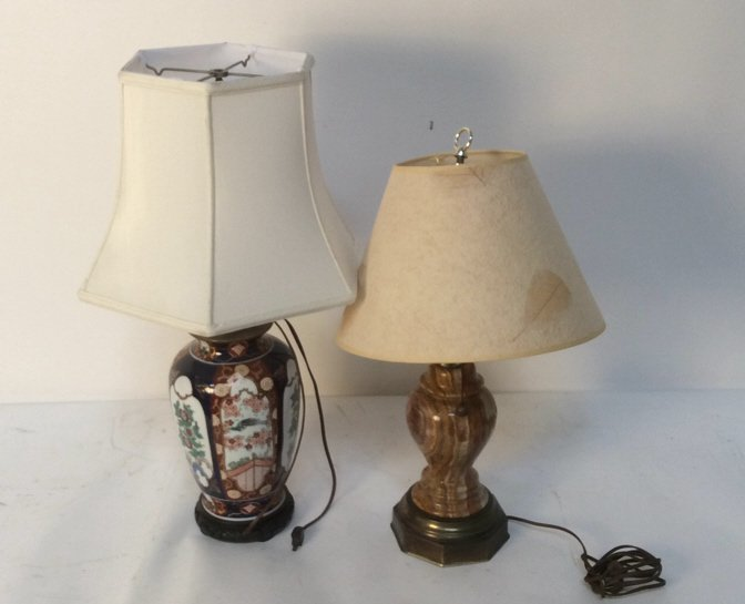 Two Vintage Mid Century Lamps with Unique Shades