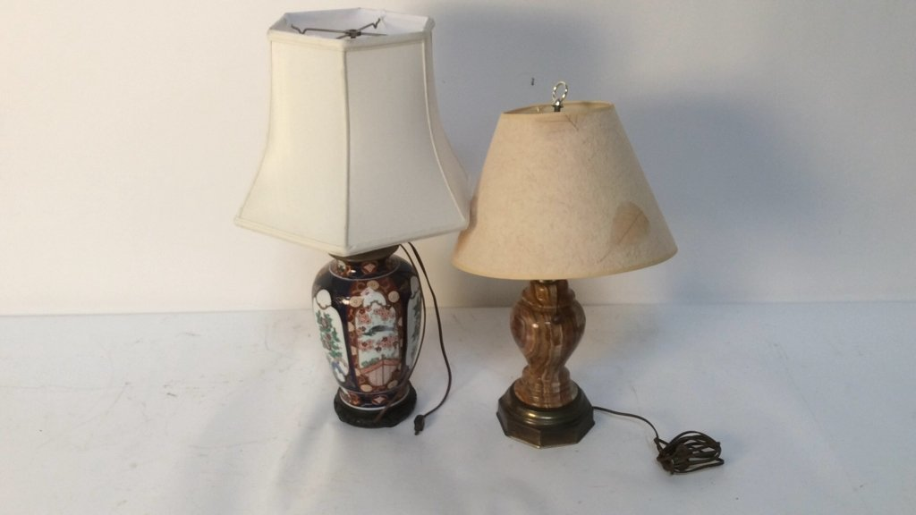 Two Vintage Mid Century Lamps with Unique Shades - 2