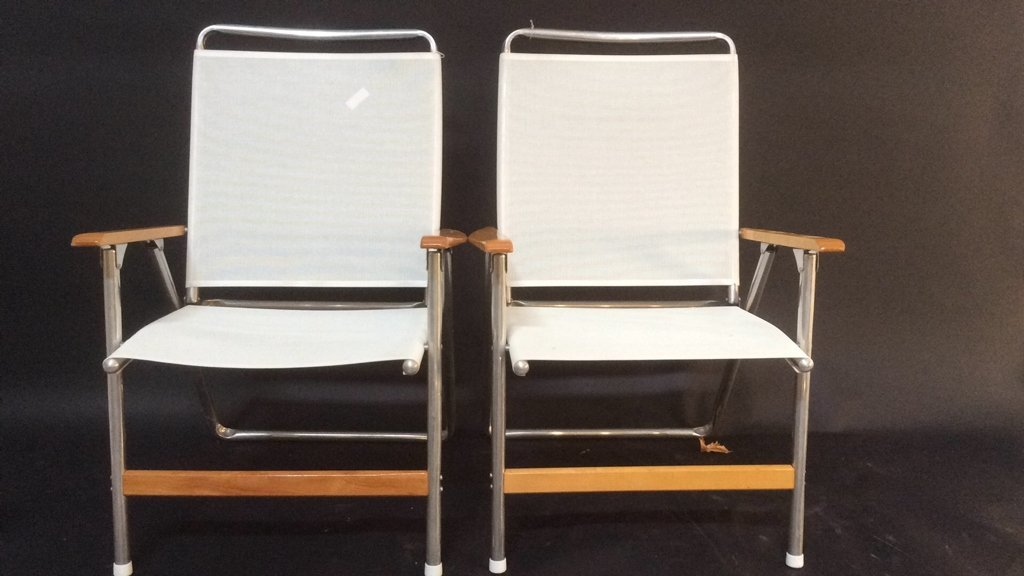 Pair Of Two Beach Lounge Chairs - 2