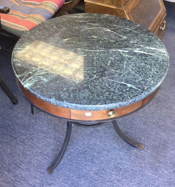 Round Green Top Marble Table With Iron Base