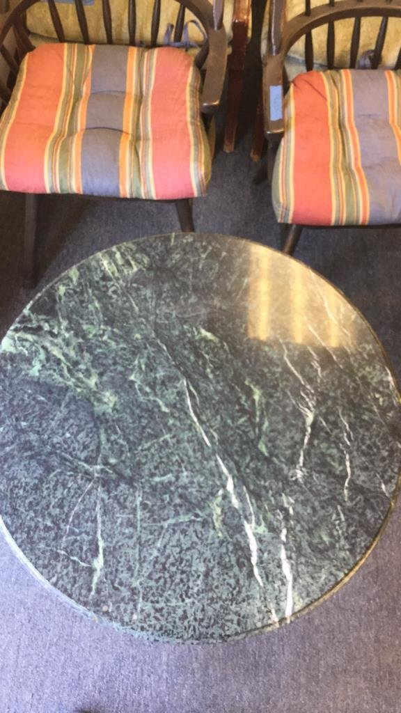 Round Green Top Marble Table With Iron Base - 5