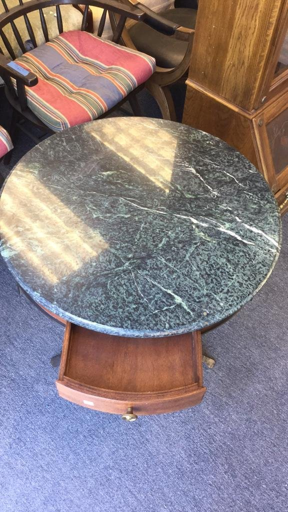 Round Green Top Marble Table With Iron Base - 6