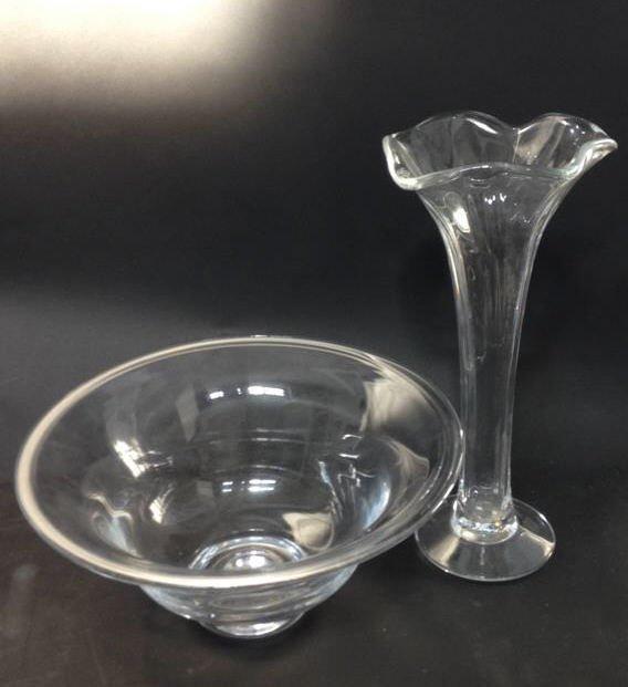 Vintage Glass Bowl & Vase Set