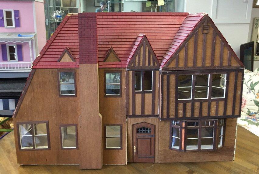 Custom Tudor Style Doll House on Swivel Stand
