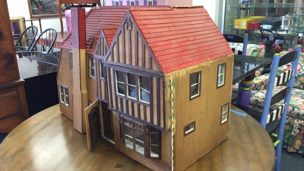Custom Tudor Style Doll House on Swivel Stand - 5