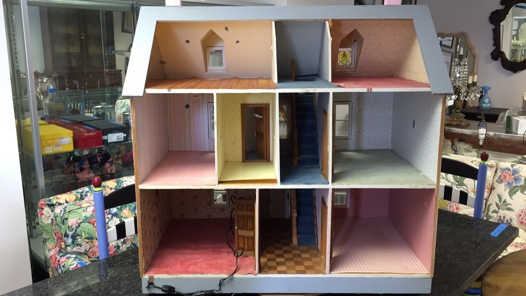 Custom Hand Painted Colonial Style Doll House - 5