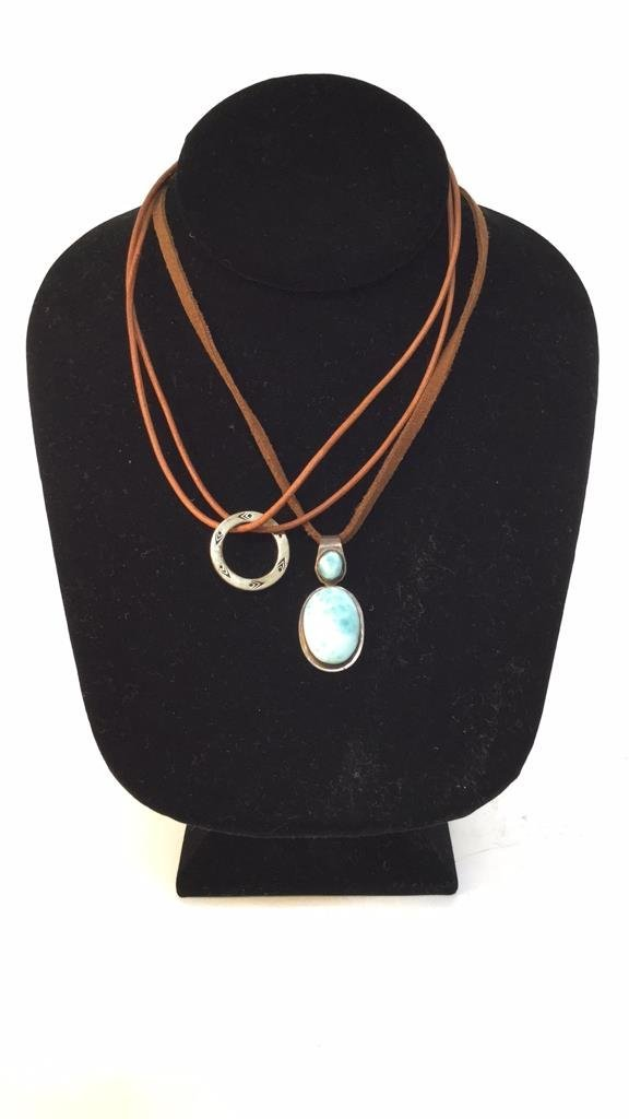 Two Leather & Sterling Necklaces