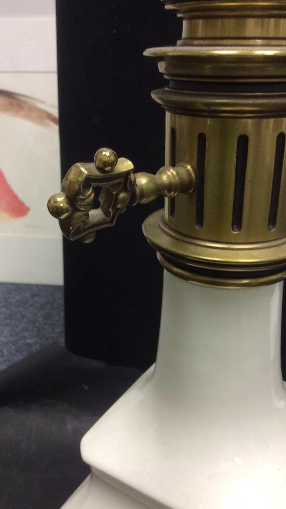 White Porcelain and Brass Lamp - 4