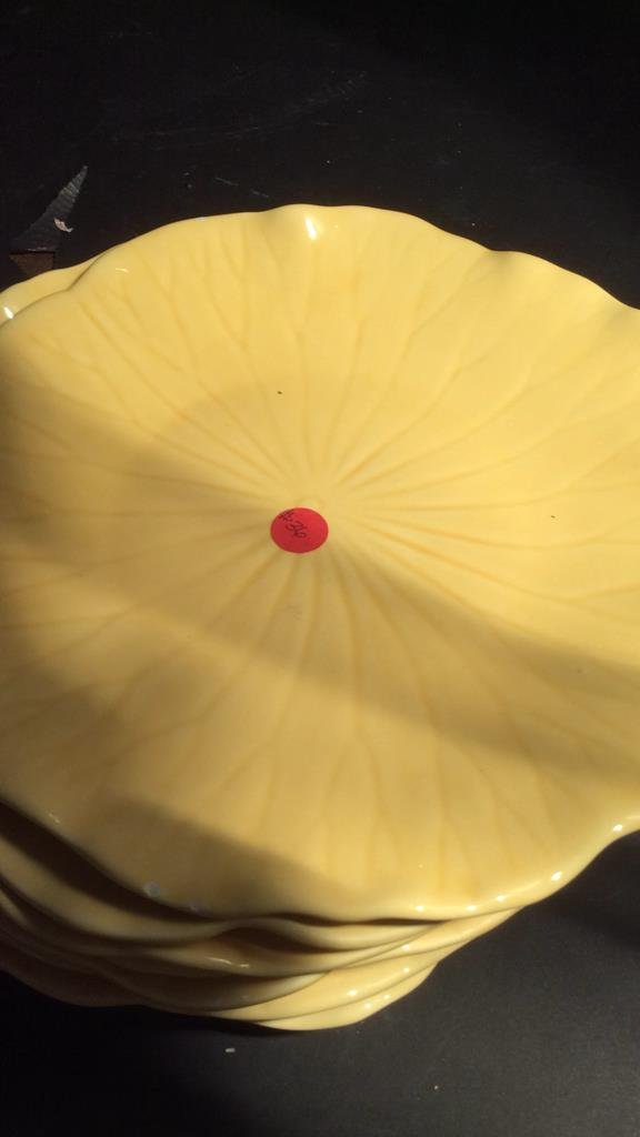 Laurie yellow leaf dish pottery set - 5