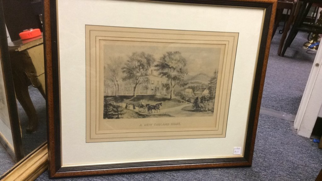 Currier & Ives A New England Home Framed Print - 2