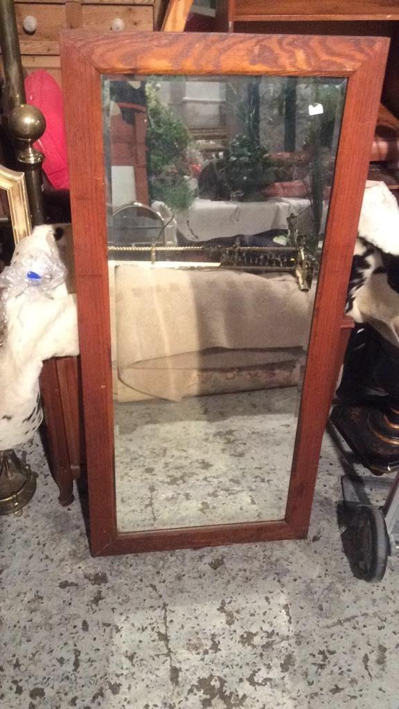 Vintage Old Fashion Style Wooden Mirror - 2