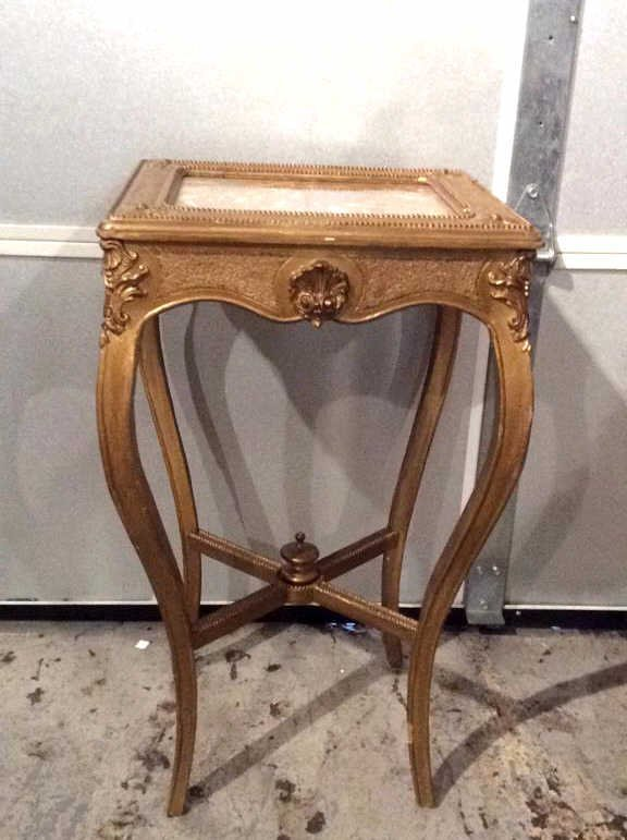 Decorative Gold Painted Wooden Corner Table - 2