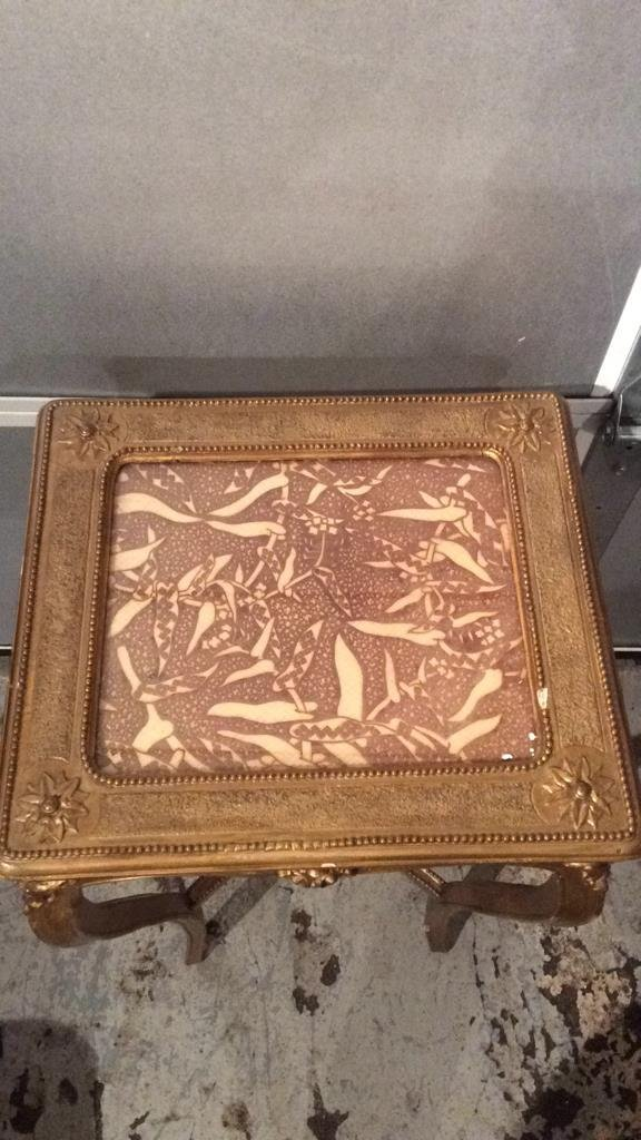 Decorative Gold Painted Wooden Corner Table - 3
