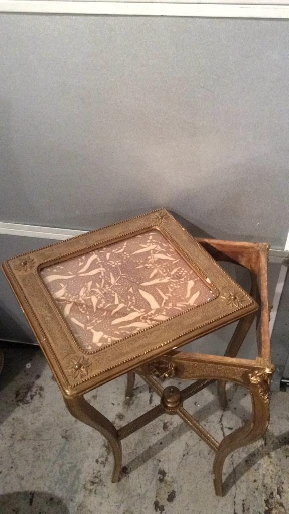 Decorative Gold Painted Wooden Corner Table - 6