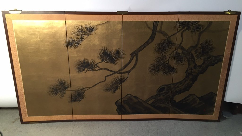Vintage Asian Four Panel Screen Art