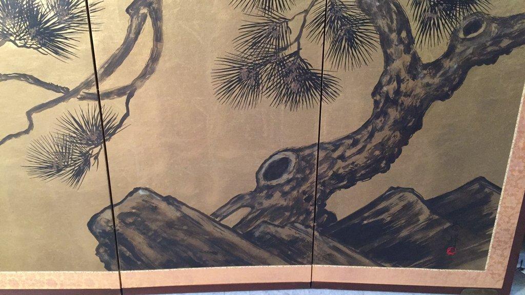 Vintage Asian Four Panel Screen Art - 2