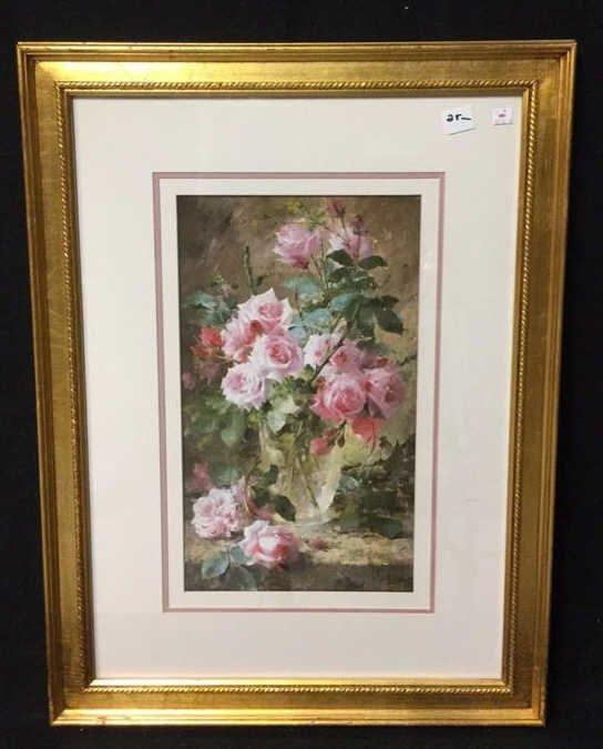 Still Life Pink Roses Gold Framed