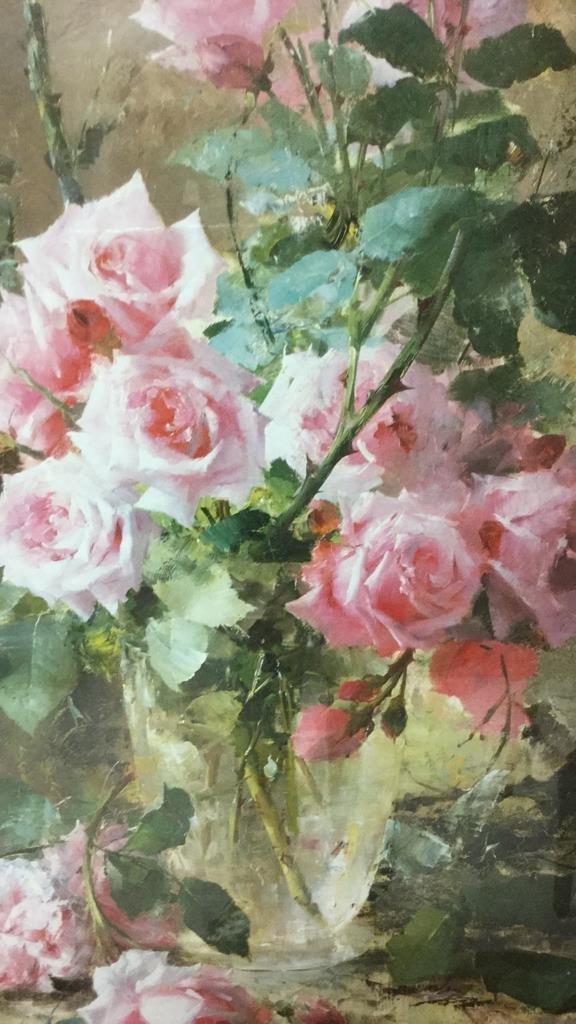 Still Life Pink Roses Gold Framed - 2