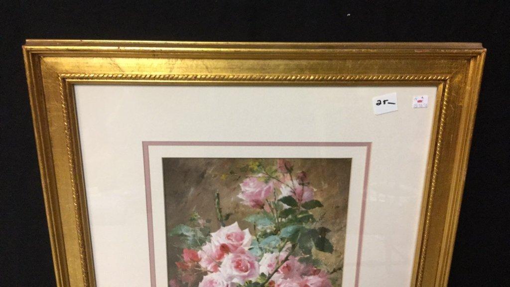 Still Life Pink Roses Gold Framed - 5