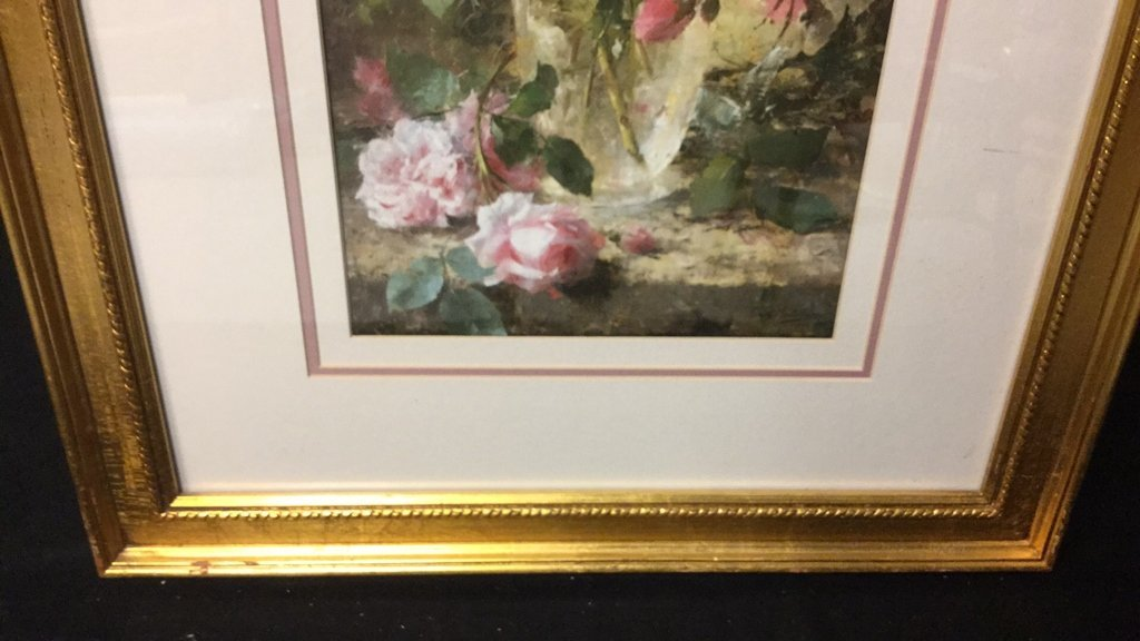 Still Life Pink Roses Gold Framed - 6