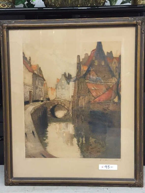 Signed Lithograph of Urban Waterway