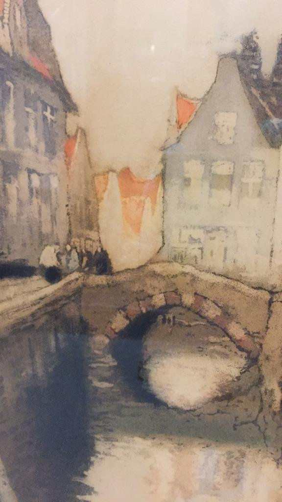 Signed Lithograph of Urban Waterway - 3