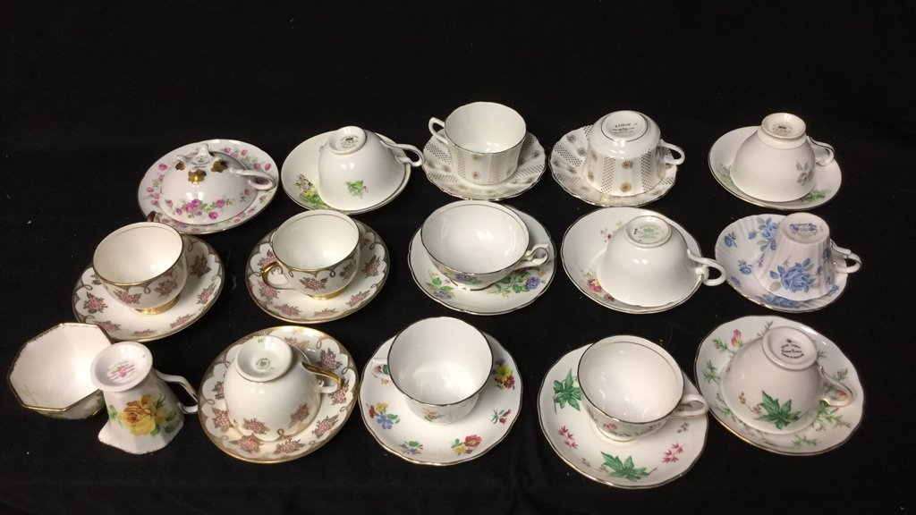 15+ Marked Tea Cup Group Lot