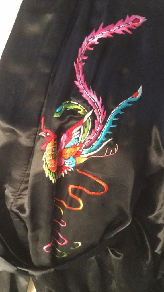 Embroidered Plum Blossom Silk Robe - 2