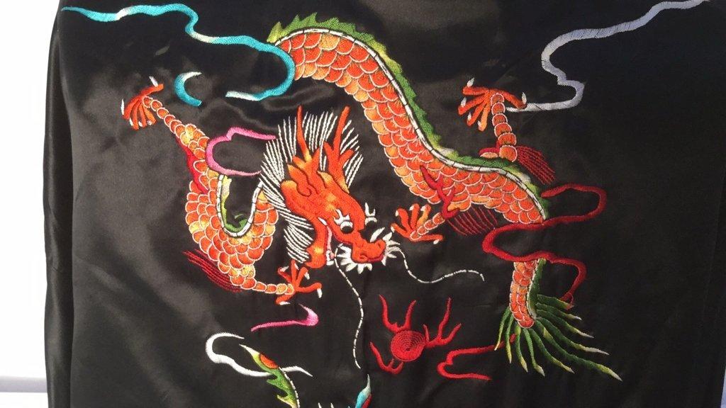 Embroidered Plum Blossom Silk Robe - 4