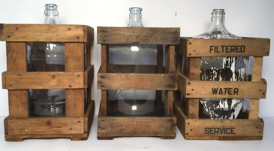 Vintage Glass Water Jugs & Wood Crates