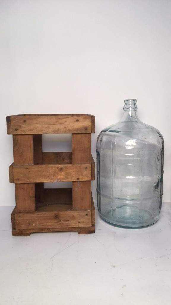 Vintage Glass Water Jugs & Wood Crates - 2