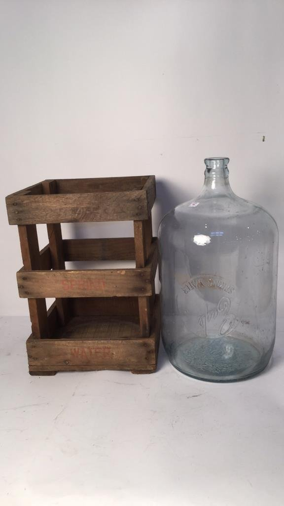 Vintage Glass Water Jugs & Wood Crates - 3