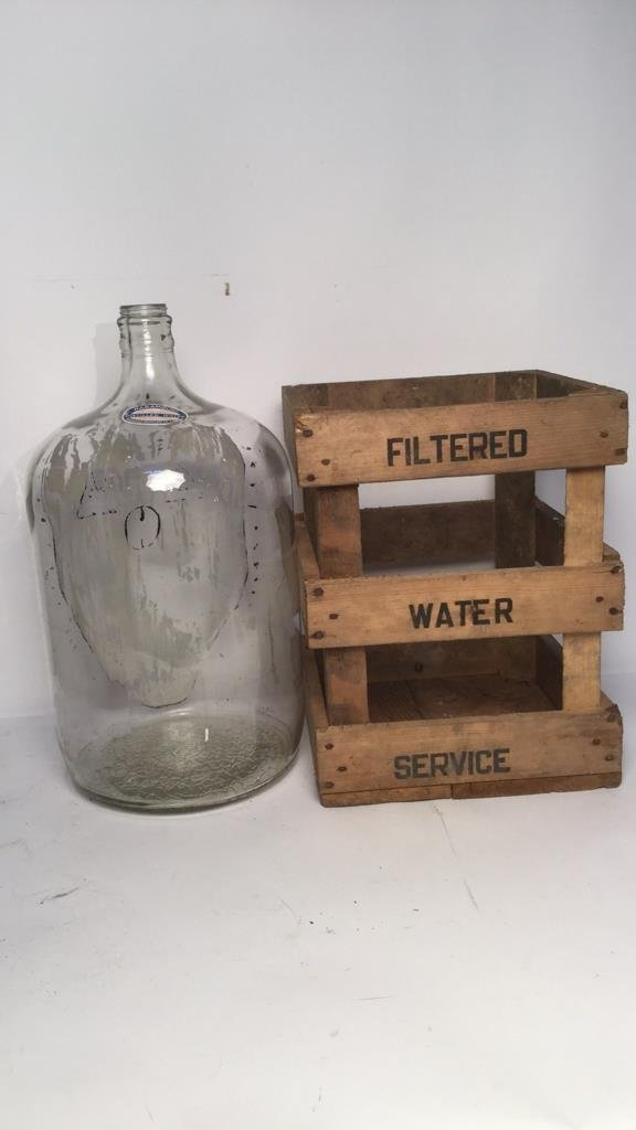 Vintage Glass Water Jugs & Wood Crates - 5
