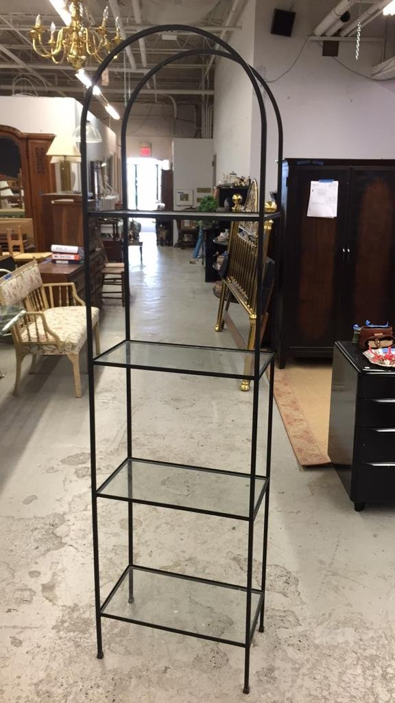 Wrought Iron and Glass Shelving