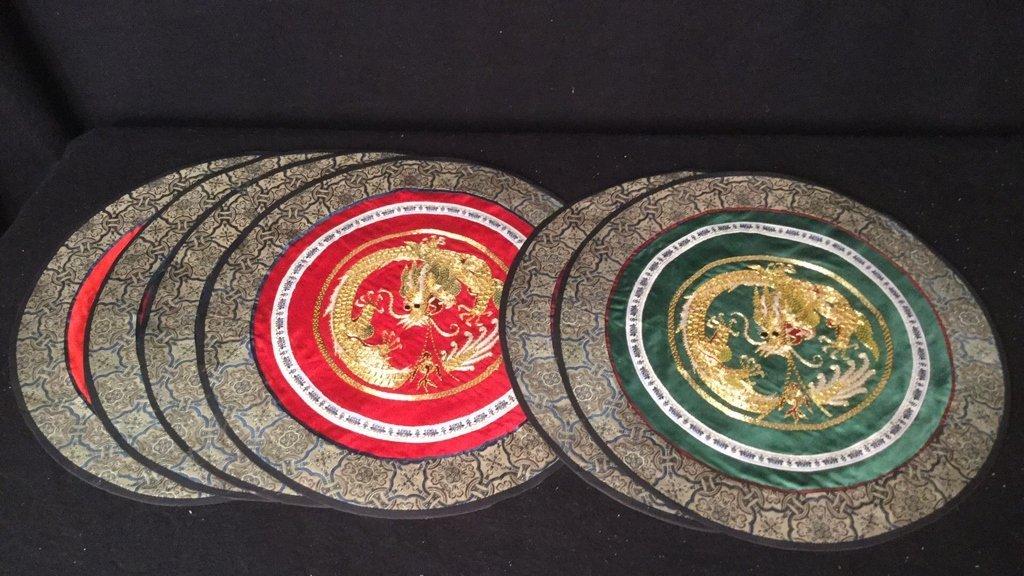 6 Silk Dragon Embroidered Mats