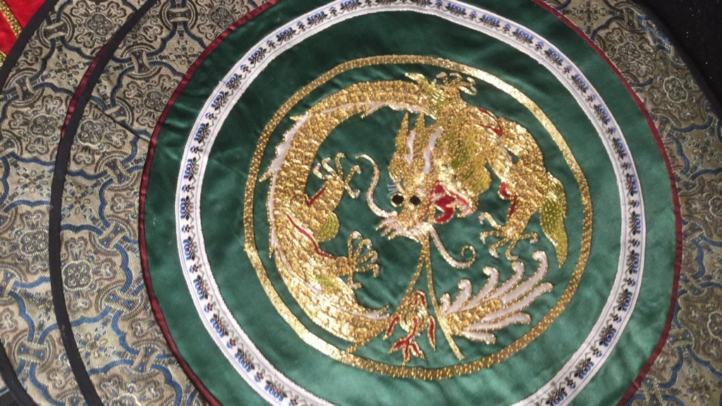 6 Silk Dragon Embroidered Mats - 2