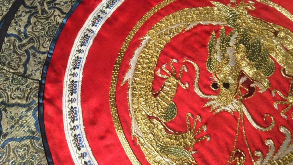 6 Silk Dragon Embroidered Mats - 5