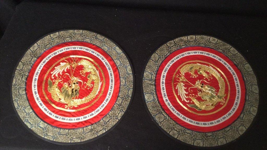 6 Silk Dragon Embroidered Mats - 7