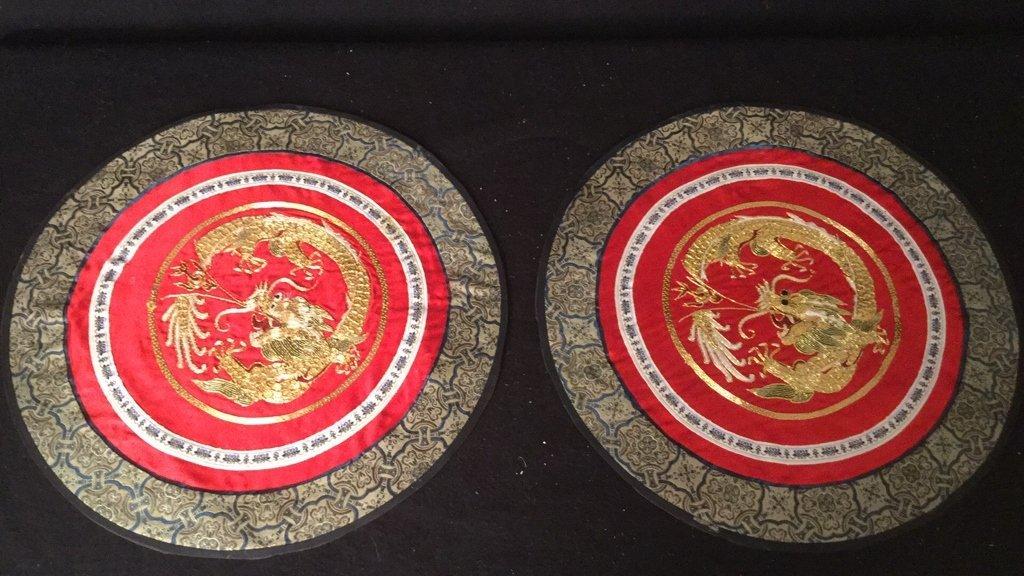 6 Silk Dragon Embroidered Mats - 8