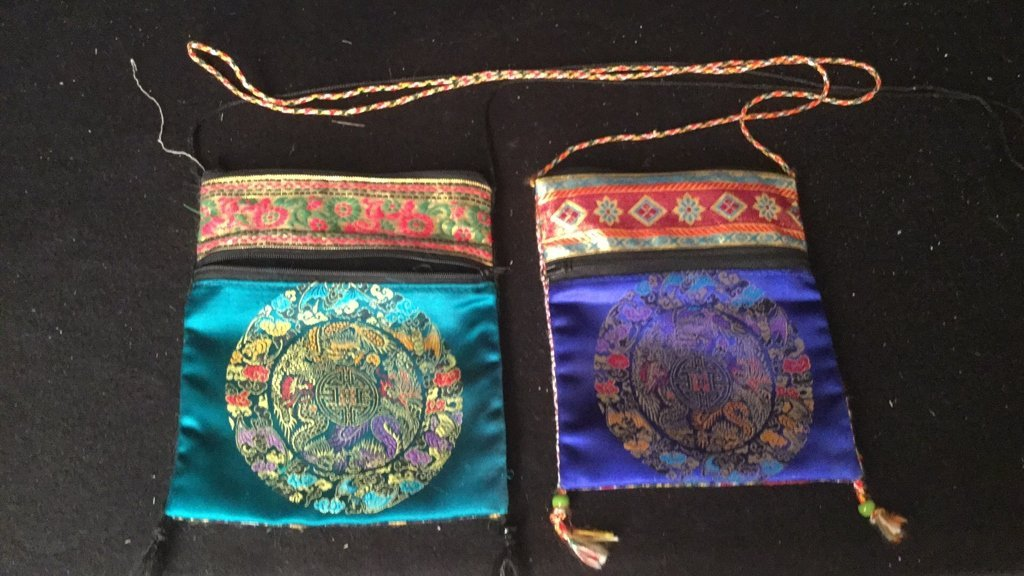 Pair of Silk Embroidered Decorative Bags